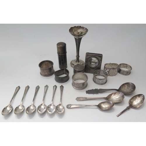 10 - A Selection of Silver and Plate including napkin rings, 200g...