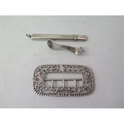 31 - A Small Piece of Chinese Silver decorated with bats, silver pencil and buckle...