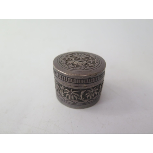 34 - A Small Indian White Metal Box...