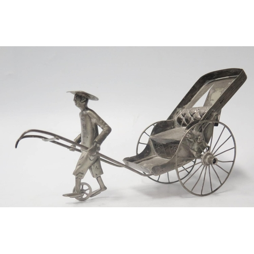 41 - A Large Chinese Silver Model of a Rickshaw, 19cm long,  134g...