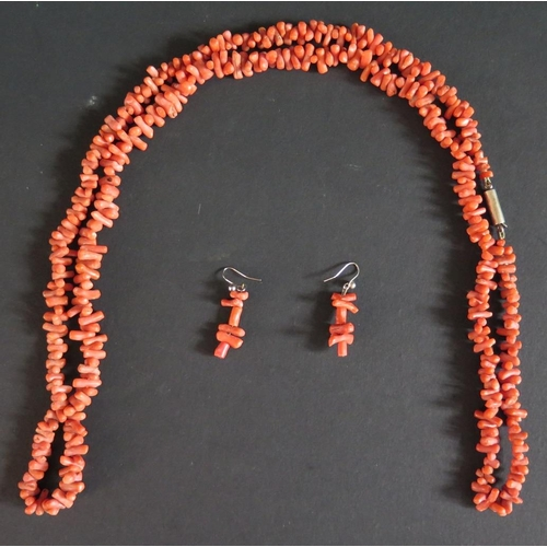 18 - A Stick Coral Necklace with matched earrings, 62.3g...