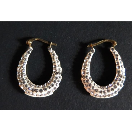 23 - A Pair of 9ct Gold and Crystal Set Earrings, 1.8g gross...