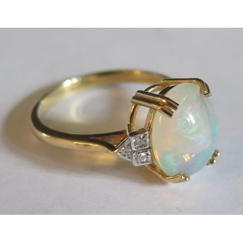 26 - A 9ct Yellow Gold, White Opal and Diamond Art Deco Style Ring, size O, 3g...
