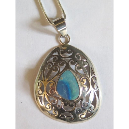 38 - A Sterling Silver and Boulder Opal Necklace, crack to opal...