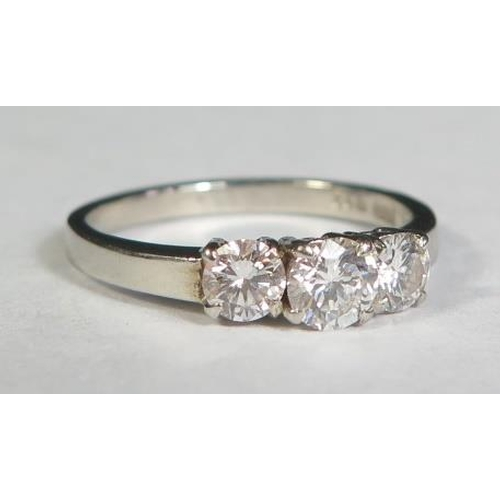1 - A .950 Platinum and Diamond Three Stone Ring, size M.5, EDW .5ct, 3.6g...