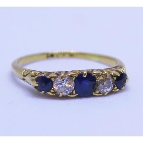 16 - An 18ct Gold, Sapphire and Diamond Five Stone Ring, size I.5, 2.1g...