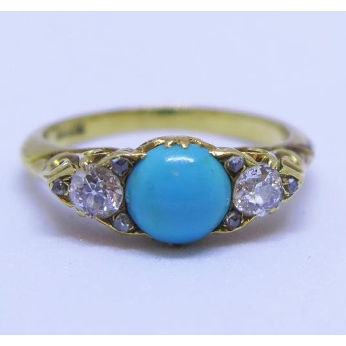 17 - An  Antique 18ct Gold, Turquoise and Diamond Three Stone Ring, size J, 3.6g...