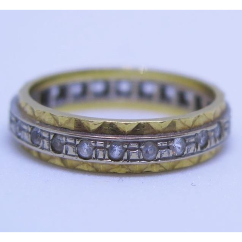 18 - A 18ct Yellow and White Gold Diamond Eternity Ring, size M.5, 4g...