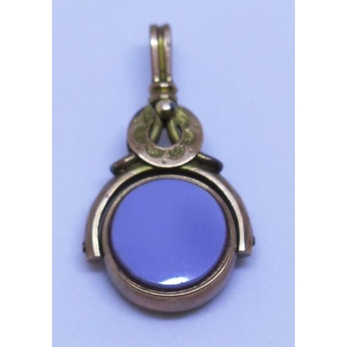 19 - A 9ct Gold Swivel Fob with bloodstone and agate mounts. 4.5g...