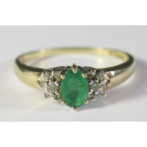 2 - A 9ct Gold, Emerald and Diamond Ring, size S.5, 2.5g. Bought from Conroy Couch of Torquay receipt fr...