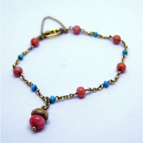 30 - An Antique Coral and Turquoise Mounted Bracelet in a 10ct gold mount with 'acorn' drop, Rd. No. 4517...