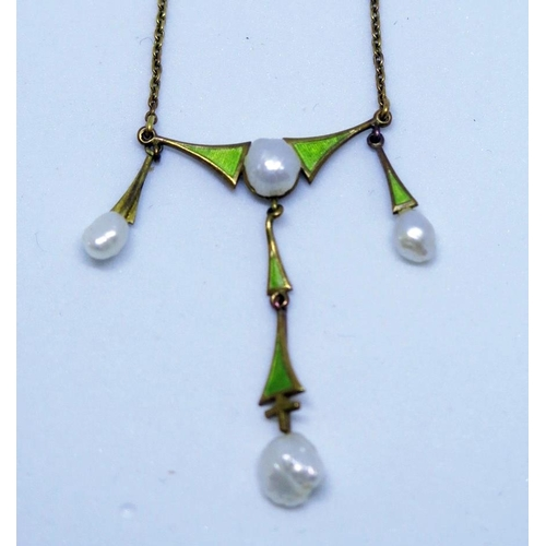 31 - A 14K Enamel and Fresh Water Pearl Necklace, 4.4g...