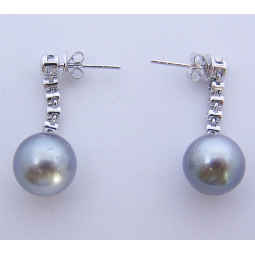 46 - A Pair of 14ct White Gold, Silver Pearl and Diamond Earrings with Akoya pearls, .25ct TDW...