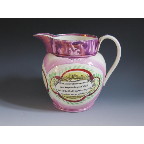 1 - A Sunderland Lustre Jug _ Sailor's Farewell _ with polychrome decoration and bordered by poetic text...