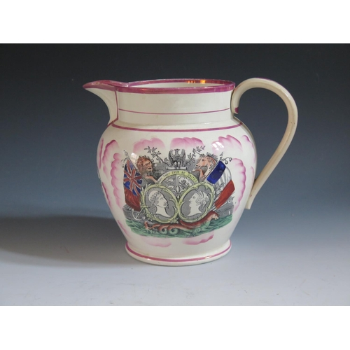 13 - A Sunderland Lustre Crimea War Jug decorated in polychrome with two scenes titled 'May They Ever Be ...