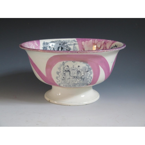 20 - A Sunderland Lustre Bowl _ Manchester Unity Independent Order of Oddfellows _ with monochrome decora...