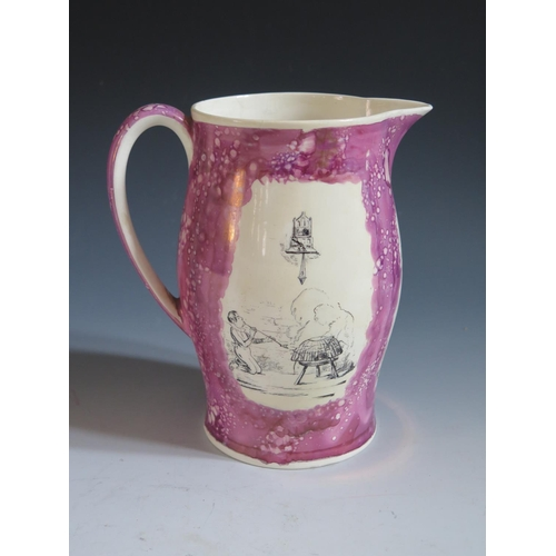 21 - A Grays Pottery Lustre Pitcher decorated in monochrome with Transfer scenes by Cruickshank, 19.5cm, ...