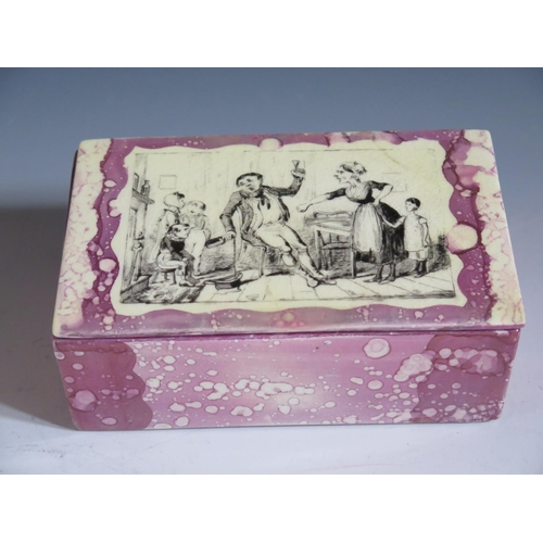 22 - A Grays Pottery Lustre Butter Dish decorated in monochrome with transfer scenes by Cruickshank, 15.5...