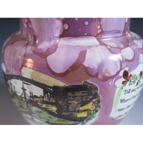 3 - A Sunderland Lustre Jug decorated with a polychrome view of The Iron Bridge, flanked by poetic texts...