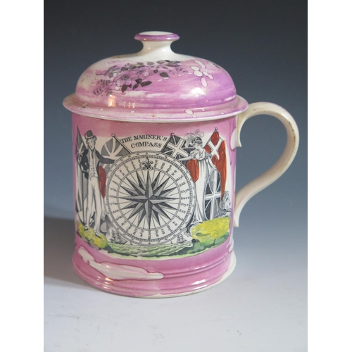 32 - A Sunderland Lustre Beer Mug with cover _ The Mariner's Compass _ decorated with polychrome scene po...