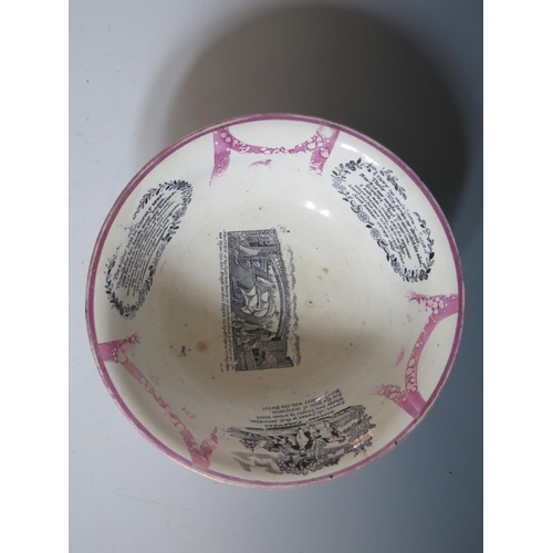 34 - A G&A Albion Pottery Sunderland Lustre Bowl decorated in monochrome with Sailor's Farewell, poetic t...