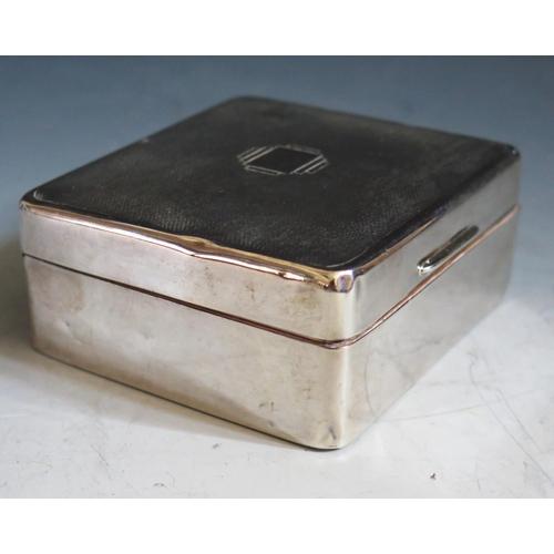 358 - An George VI Silver Cigarette Box with engine turned decoration, Birmingham 1939, Adie Bros., 8.5(w)...