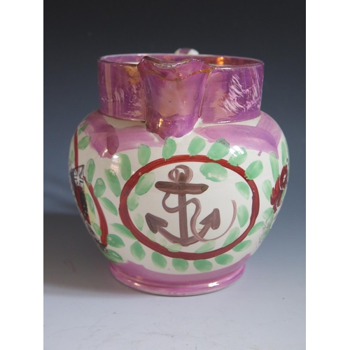 36 - A Sunderland Lustre Jug _ The Mariner's Compass _ decorated in polychrome with hand painted anchor a...