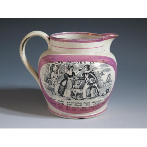 38 - A Sunderland Lustre Jug _ The Sailor's _ decorated in monochrome with poetic text 'Now weigh the anc...
