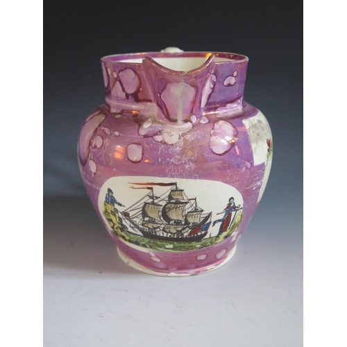 4 - A Sunderland Lustre Jug decorated in polychrome with a scene of a three masted ship and flanked by c...
