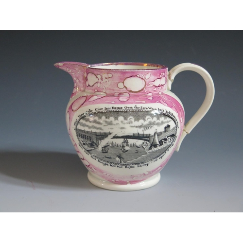 40 - A Sunderland Lustre Jug with monochrome decoration showing a scene of The Iron Bridge and poetic tex...