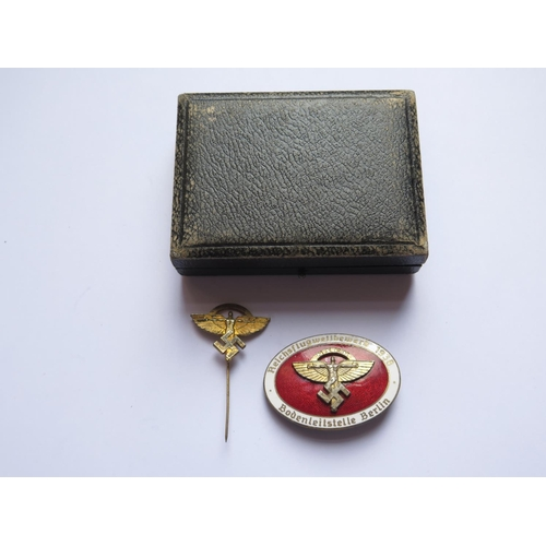 409 - A German Third Reich NSFK (Nationalist Socialist Flying Corps) Red Enamel award with pin, award back...