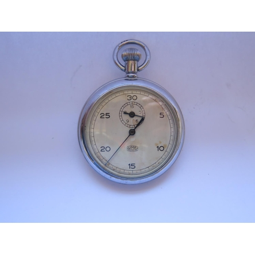 411 - A WWII German Kriegsmarine Stop Watch, movement stapmed UMF RUHLA, marked cased back and no. 079488,...