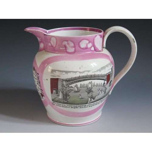 42 - A Sunderland Lustre Jug _ Mariners Arms _ with polychrome decoration of The Iron Bridge and poetic t...