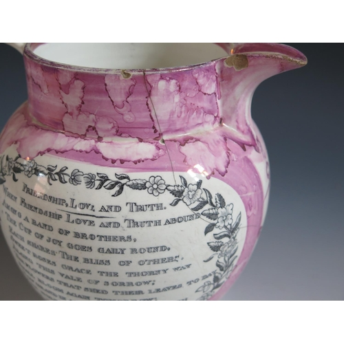 43 - A Sunderland Lustre Jug with monochrome decoration of The Iron Bridge and poetic text 'Friendship, L...