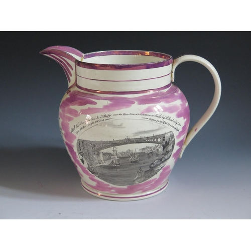 8 - A Dixon Austin Co. Sunderland Lustre Jug _God Speed The Plough _ decorated in monochrome with scene ...
