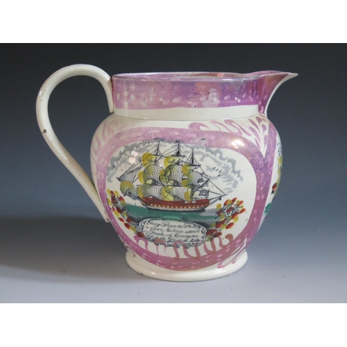 9 - A Sunderland Lustre Jug _ The Mariner's Compass _ decorated in polychrome with compass, three masted...