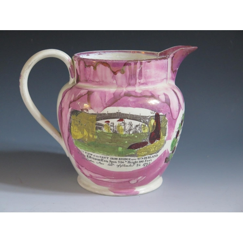 16 - A Sunderland Lustre Jug decorated in polychrome with a made milking a cow, The Iron Bridge and poeti...