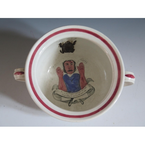 19 - A 19th Century 'Marriage' Thunder Pot, the bowl decorated with an applied frog and figure to bottom ...
