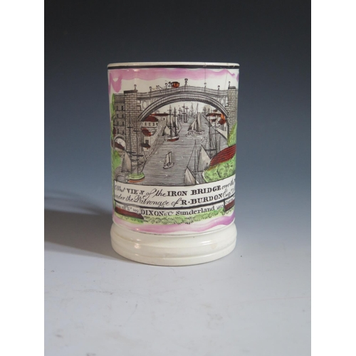 25 - A Dixon & Co. Sunderland Lustre Frog Mug with polychrome decoration of The Iron Bridge, 12.5cm, hair...