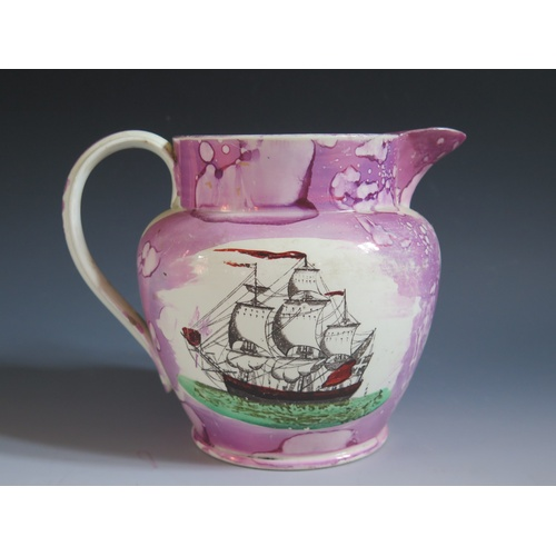 47 - A Sunderland Lustre Jug with polychrome decoration of a three masted ship and poetic text 'The loss ...