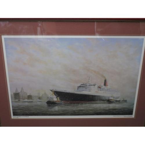 2 - E.D. Walker, Queen Elizabeth 2 in the Mersey, print, F&G, 56x38cm image size...