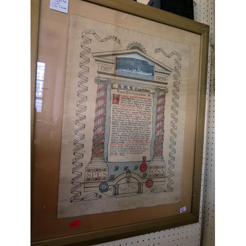 21 - H.M.S. CAPETOWN Royal Proclamation Crossing The Line 1927-1929, F&G, 50x38cm...