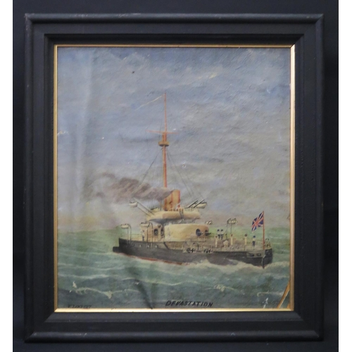 23 - F. Lamport, H.M.S. Devastation, oil on canvas, framed 41x36cm **WITHDRAWN BY FAMILY**...