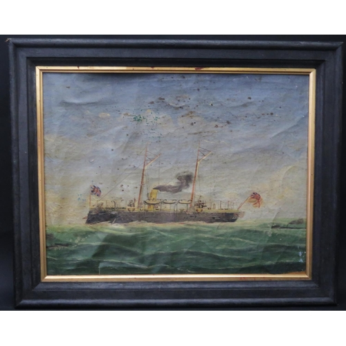 24 - F. Lamport, Unknown turret ship, oil on canvas, framed, 46x35cm...