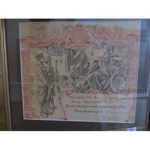 25 - Honourable Discharge Paper _ No. 17653 Pte. Evason John Albert Kings Shropshire Light Infantry 28th ...