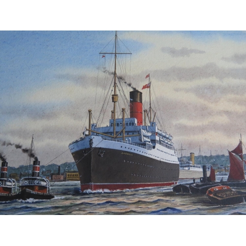 12 - J. Nicholson, AURANIA _ A Cunarder in the London River, acrylic, framed, 37x26cm...