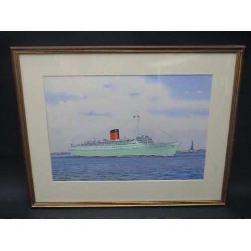 13 - J. Nicholson, R.M.S. CARONIA, acrylic, F&G, 36.5x25cm...