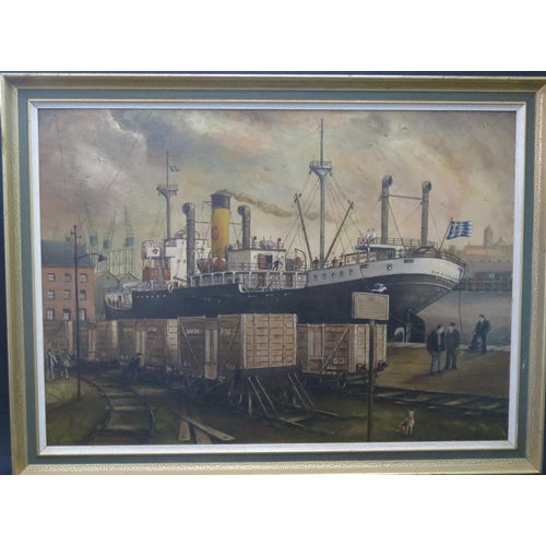 14 - Desmond P. Murphy, San Nickolas Piraeus, oil on board, framed, 69x49cm...