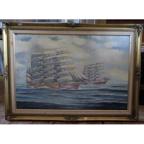 15 - Peter Davies, Finnish four master barques HERZOGIN CECILIE and OLIVEBANK, oil on board, framed, 75x4...