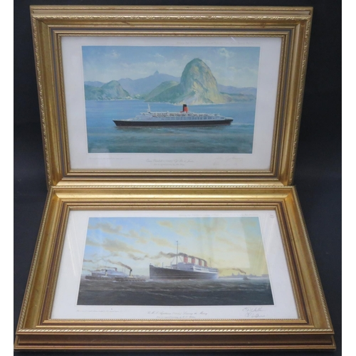 17 - Two Artist Endorsed Limited Edition Prints: R.M.S. AQUITANIA and QUEEN ELIZABETH 2, F&G, 39x27cm...